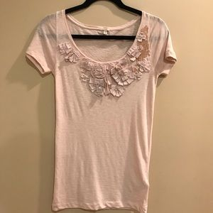 J.Crew blush embroidered and beaded T Shirt NWT
